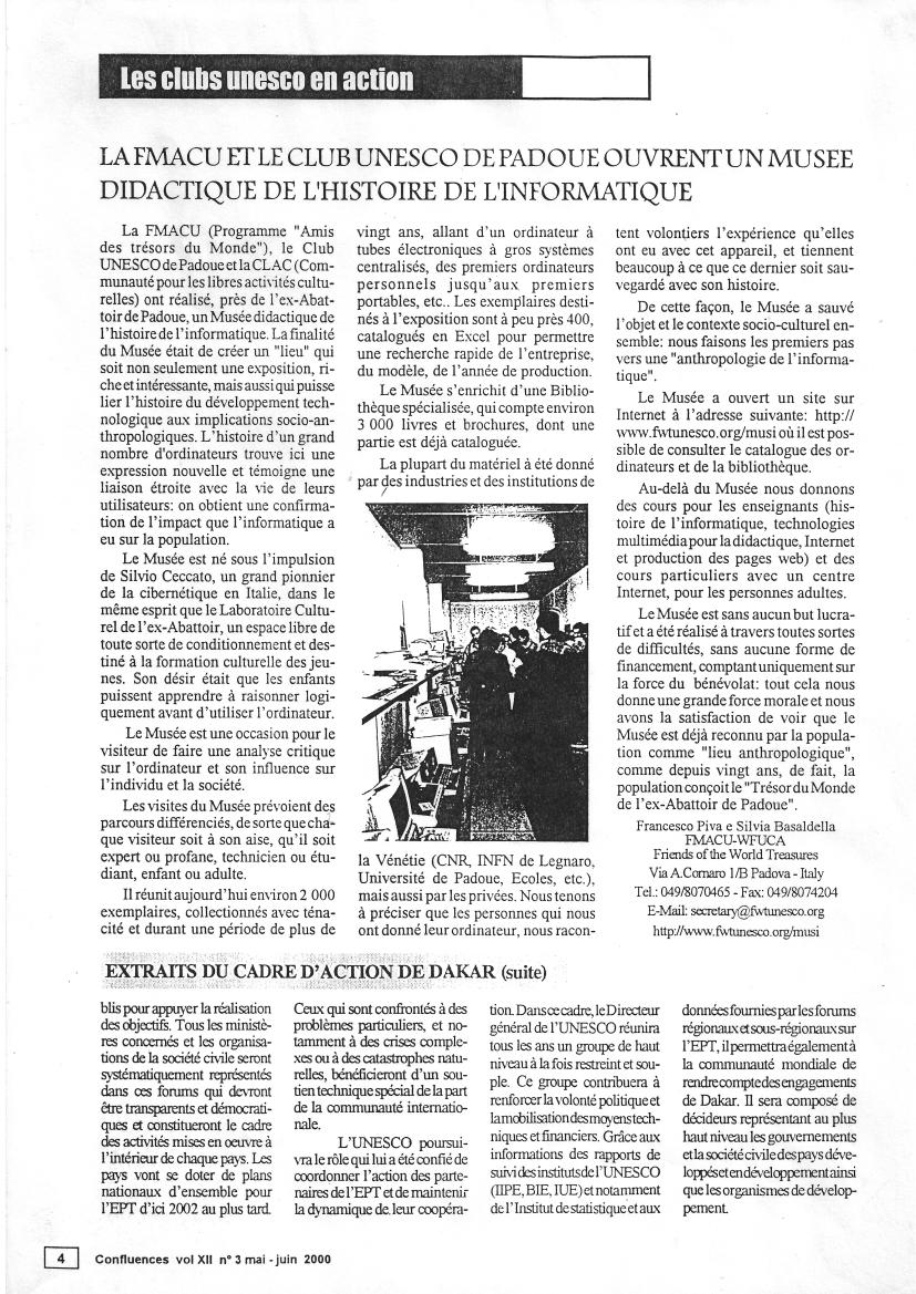 il numero di maggio-giugno 2000 di Confluences